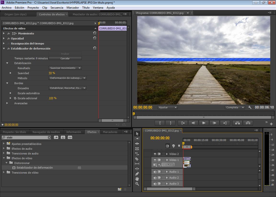 Estabilizacion de deformacion Adobe Premiere
