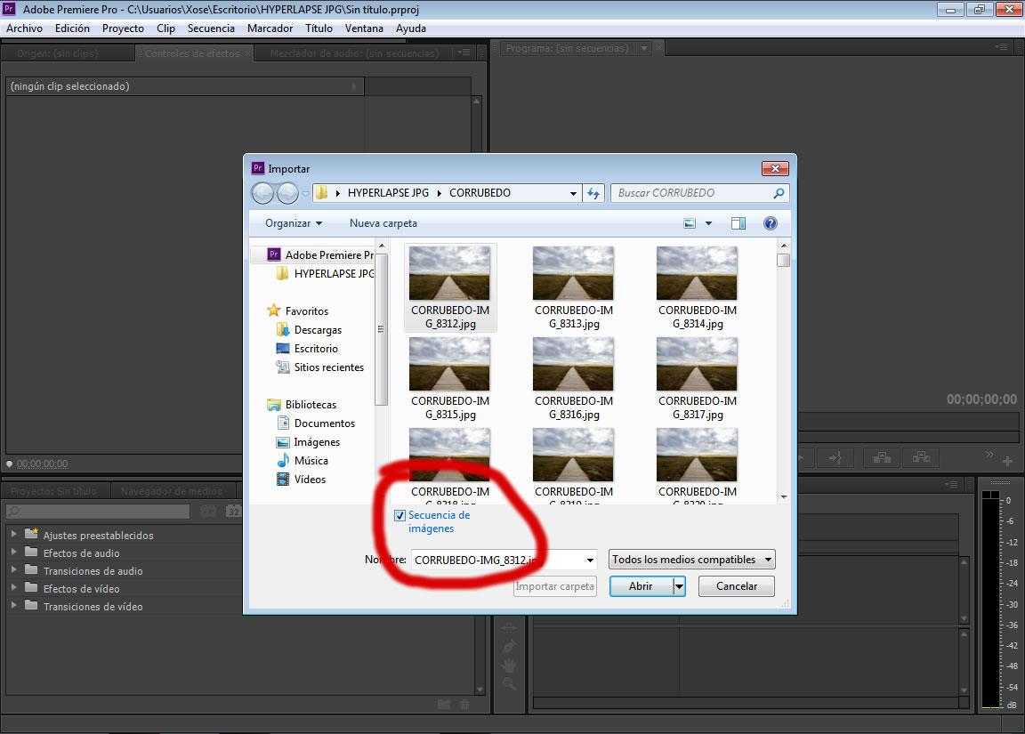 Importar como secuencia Adobe Premiere